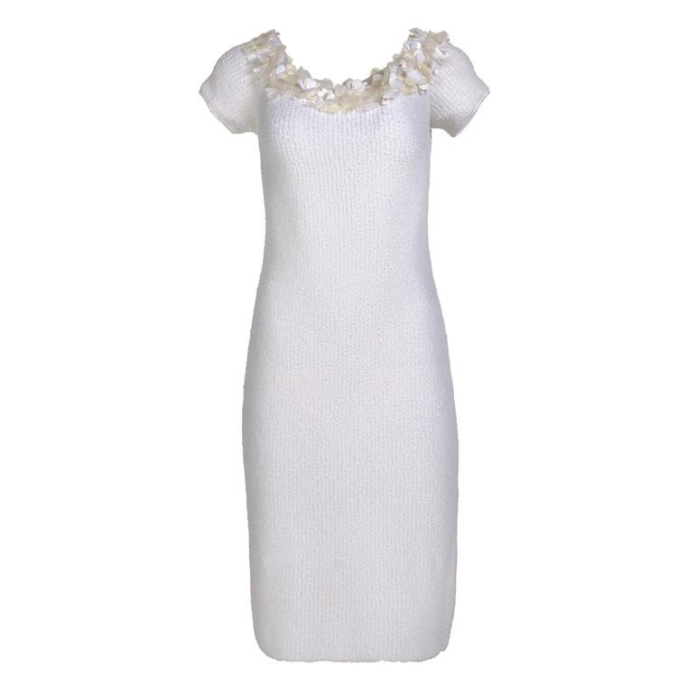 Women Blumarine Fitted Flower Midi Dress White -  White Size M IT 46 US 10