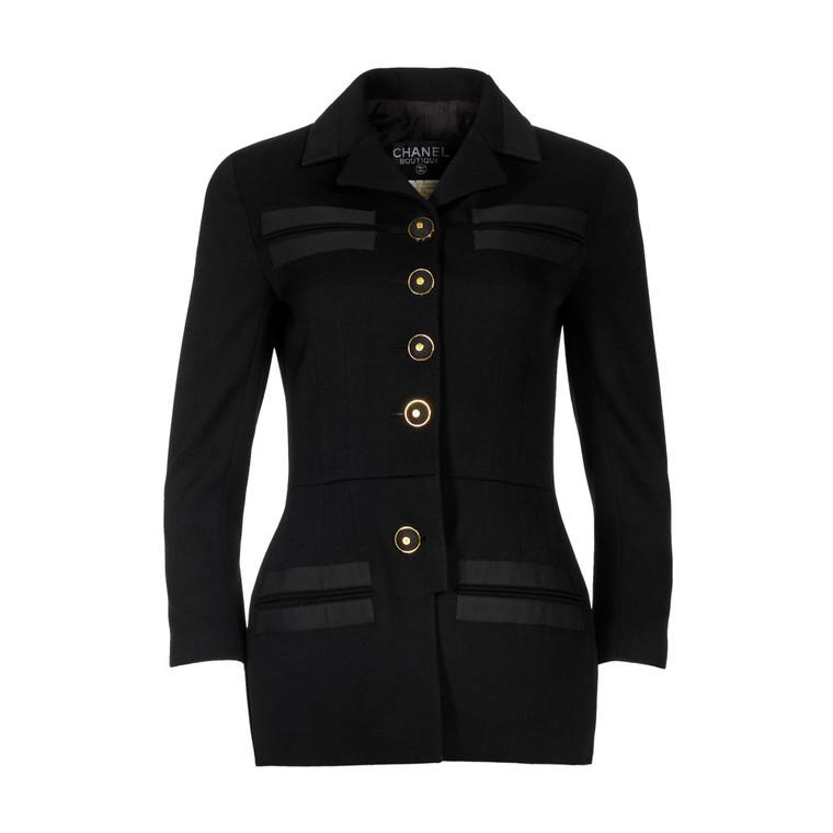 Women Chanel Single-Breasted Blazer Black -  Black US 2 FR 34 Size XS