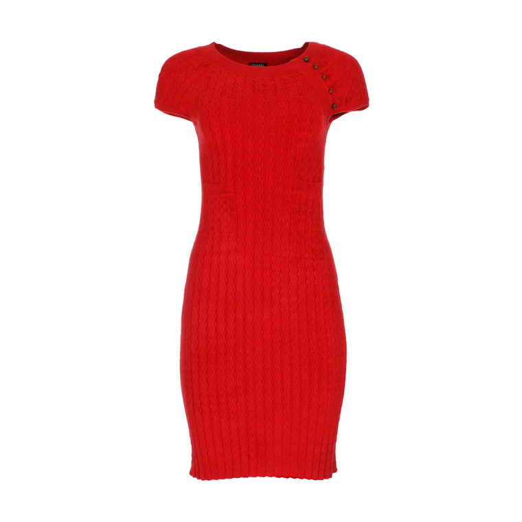 Women Chanel Tight Dress Red -  Red Size S FR 38 US 6