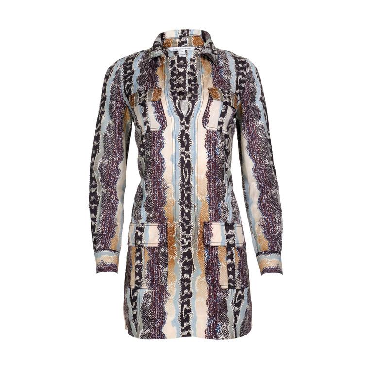 Women Diane Von Furstenberg Snakeskin Print Shirt Dress -  Multi Size S US 4
