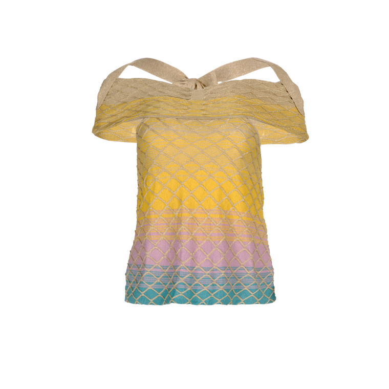Women Missoni Off-the-Shoulder Striped Top -  Multi  Gold Size M IT 44 US 8