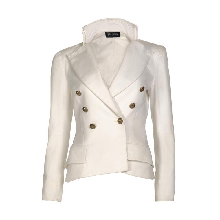 Women Balmain Double Breasted Blazer -  White FR 40 US 8 Size M