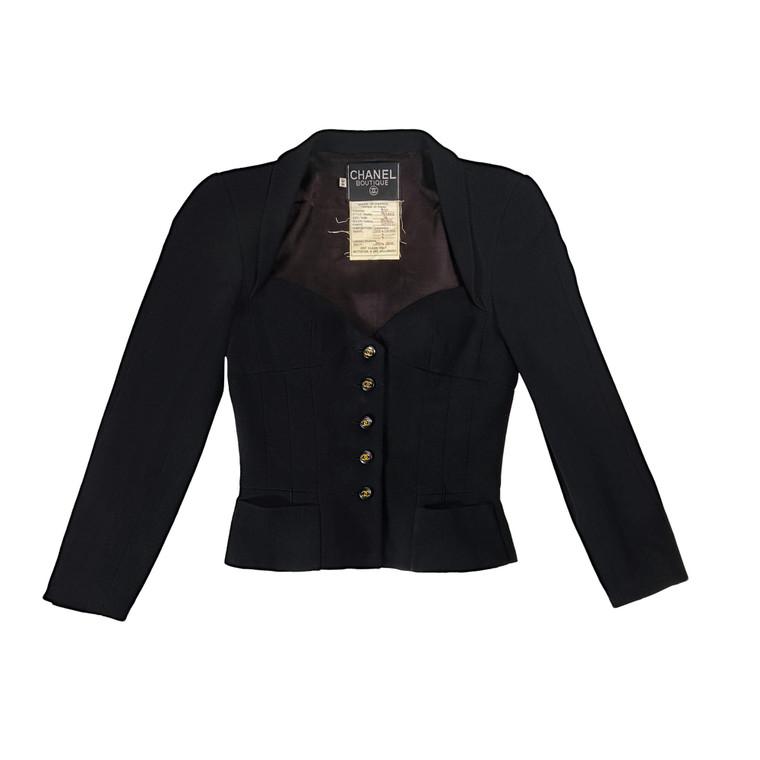 Women Chanel Bustier-Style Jacket Black -  Black Size XS FR 34 US 2