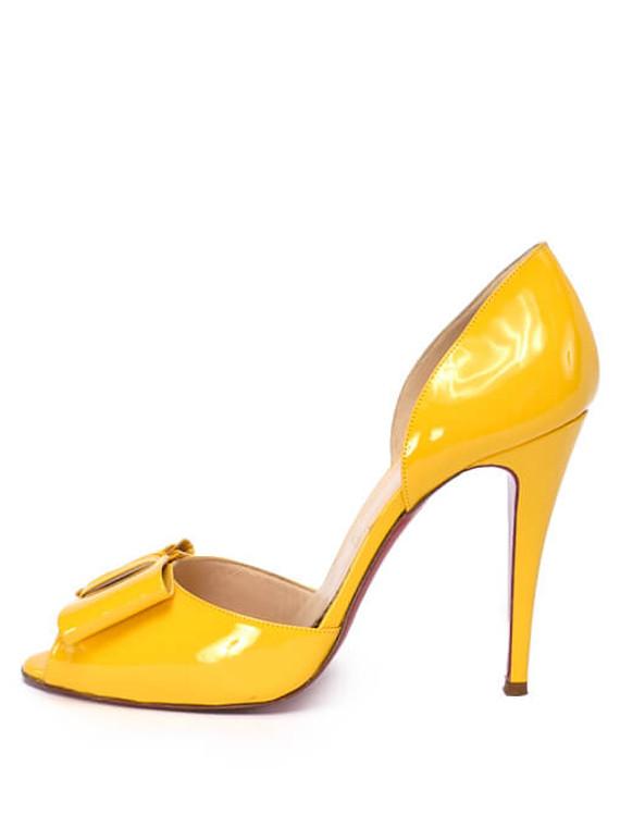 Women Christian Louboutin Patent Bow Peep-Toe Heels -  Yellow Size 39 US 9