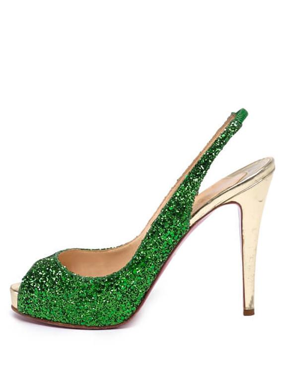 Women Christian Louboutin Glitter Peep-Toe Slingback Heels -  Green Size 38.5 US 8.5