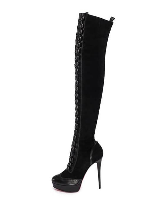 Women Christian Louboutin Lace-Up Platform Boot Heels -  Black Size 40 US 10