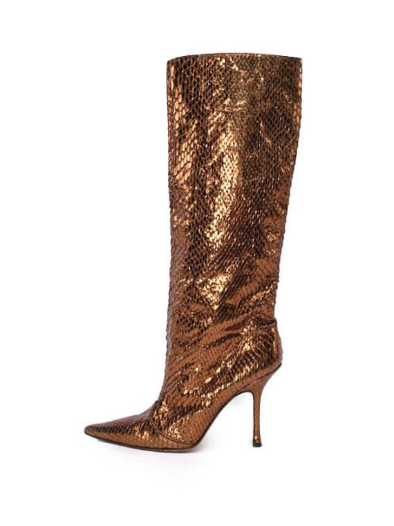 Women Jimmy Choo Python Boot Heels -  Bronze Size 40 US 10