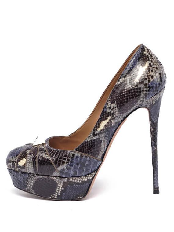 Women Valentino Python Rockstud Platform Heels -  Blue Size 39.5 US 9.5