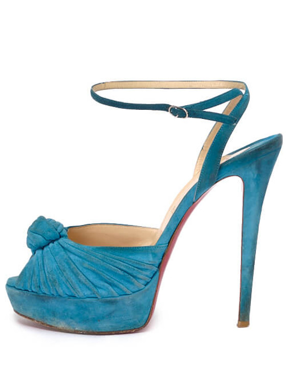 Women Christian Louboutin Suede Greissimo Mule Knotted Heels -  Blue Size 40 US 10