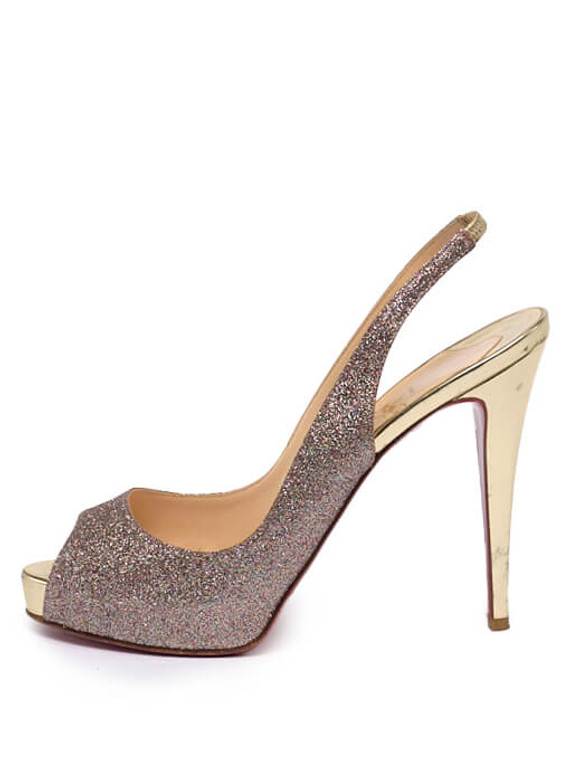 Women Christian Louboutin No Privé Glitter Slingback Heels -  Glitter Size 40 US 10