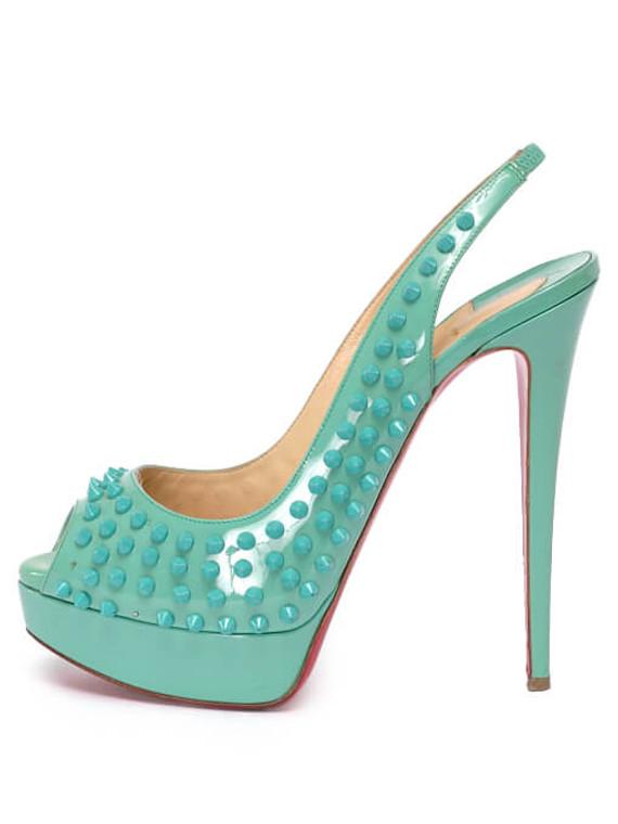 Women Christian Louboutin Lady Peep Toe Spike Slingback Heels -  Blue Size 40 US 10