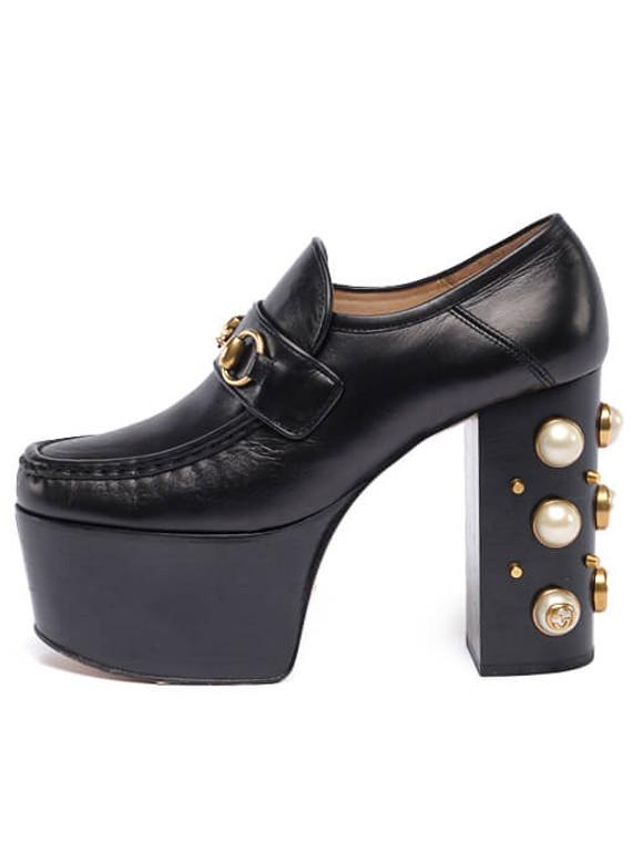 Women Gucci Vegas Loafer Platform Heels -  Black Size 38.5 US 8.5