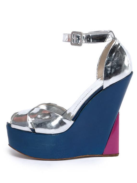 Women Giuseppe Zanotti Metallic Wedges -  Silver Size 38 US 8