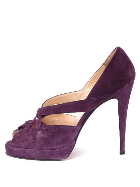 Women Christian Louboutin Suede Peep-Toe Heels -  Purple Size 40 US 10