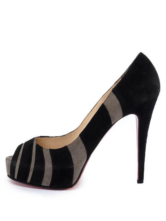Women Christian Louboutin Striped Suede Bicho Heels -  Grey Size 40 US 10
