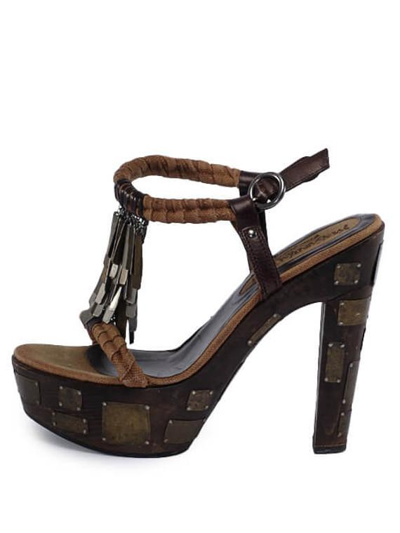 Women Saint Laurent Wooden Block Sandal Heels -  Brown Size 40 US 10