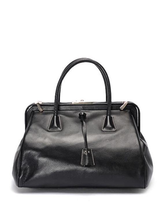 Women Prada Leather Top-Handle Bag -  Black