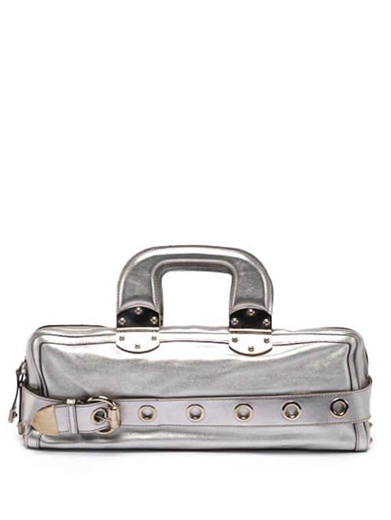 Women Gucci Metallic Rectangle Leather Bag -  Silver