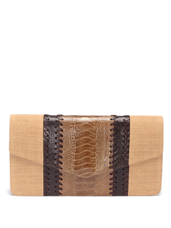 Women Saint Laurent Exotic Leather Clutch -  Beige