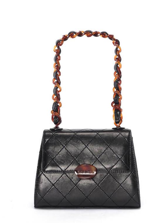 Women Chanel Mini Leather Flap Bag -  Black