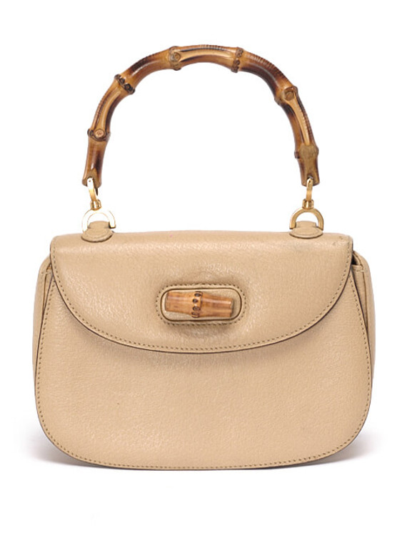 Women Gucci Mini Bamboo Top Handle Bag -  Ecru