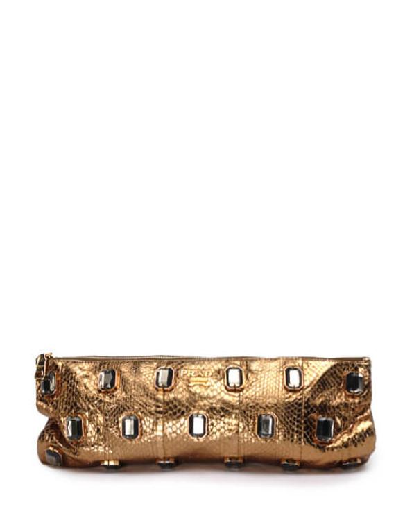 Women Prada Jeweled Python Leather Clutch -  Brown