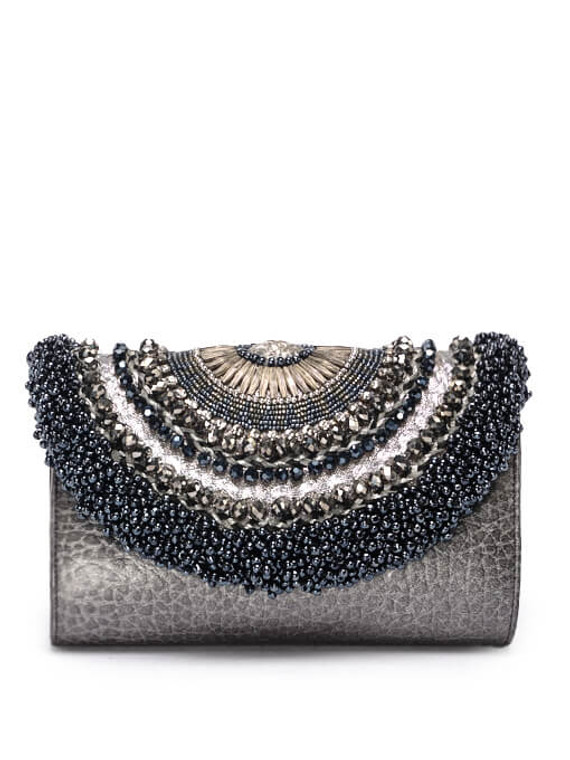 Women Sarah's Bags Embroidered Clutch -  Grey