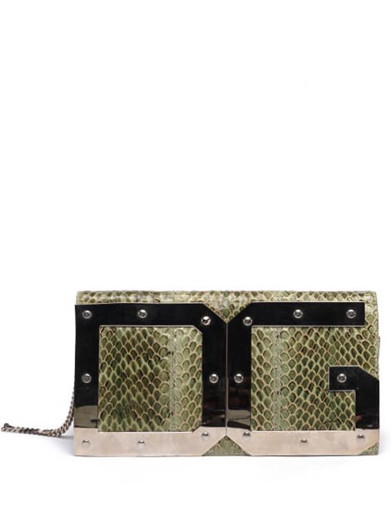 Women Dolce & Gabbana Python Leather Logo Clutch -  Green