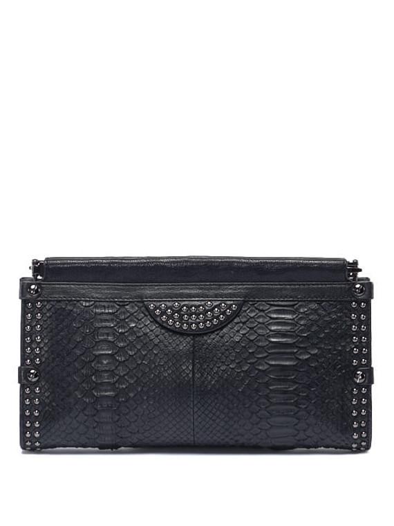 Women Diane Von Furstenberg Exotic Python Leather Clutch -  Black