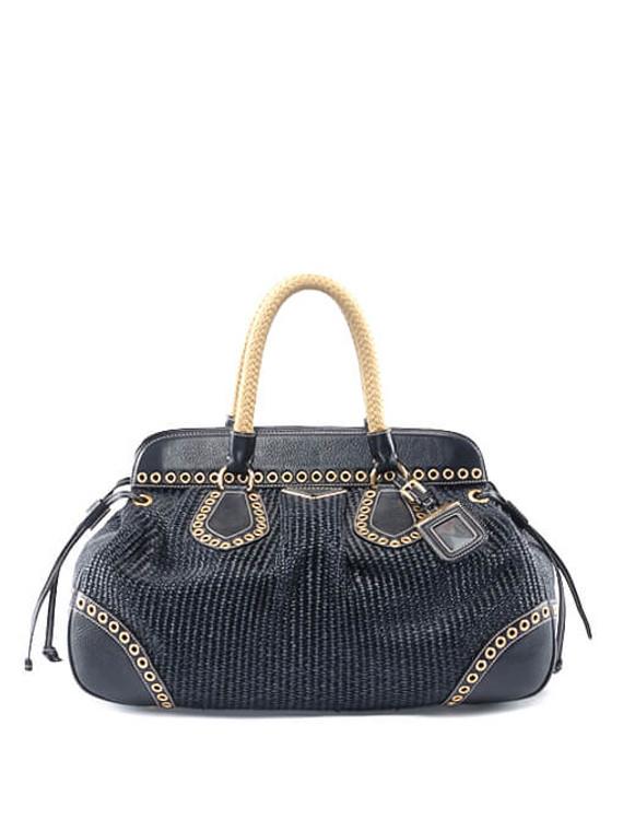 Women Prada Raffia Bag -  Black