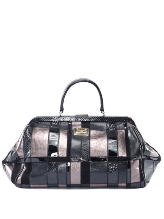 Women Dolce & Gabbana Mixed Leather Bag -  Black