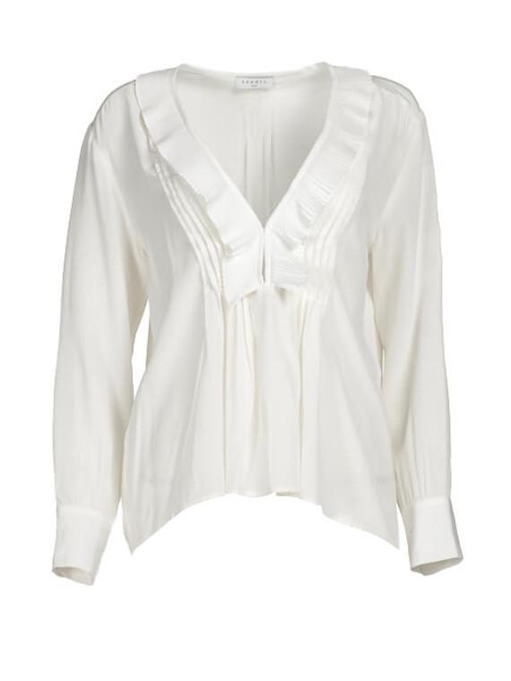 Women Sandro Ruffled Blouse -  White Size S FR 36 US 4