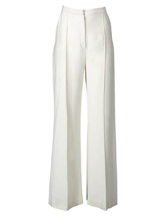 Women Elie Saab Straight Pant -  White Size M FR 40 US 8