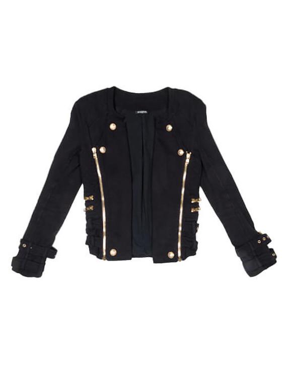 Women Balmain Buckle Jacket -  Black Size S FR 36 US 4