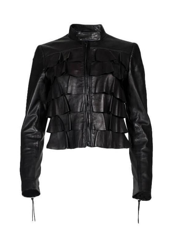 Women Valentino Ruffled Leather Jacket -  Black Size S IT 40 US 4