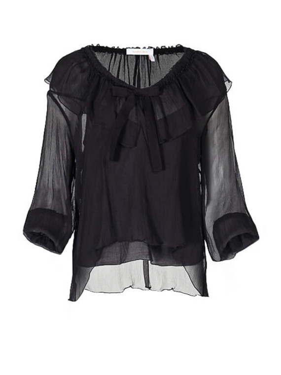 Women See by Chloé Sheer Ruffle Top -  Black Size M FR 38 US 6