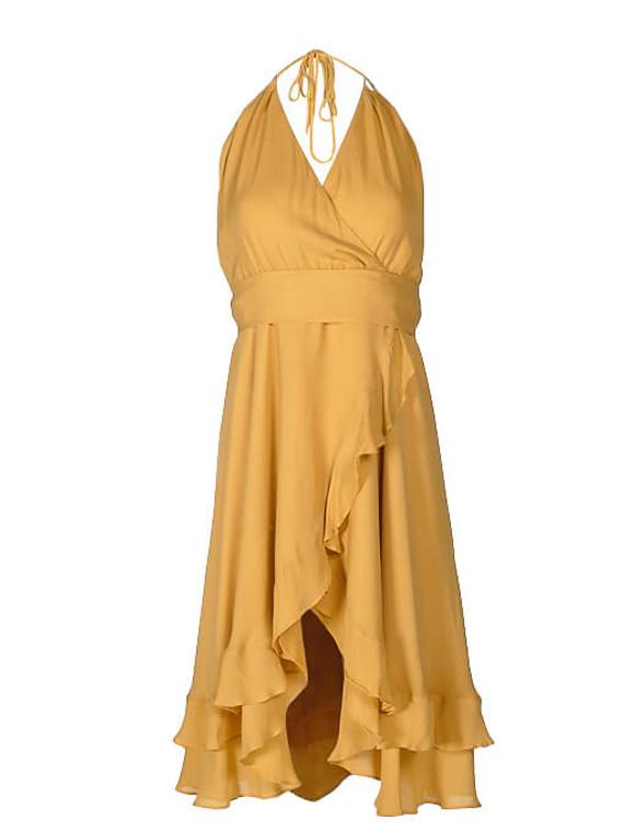 Women Haute Hippie Halterneck Dress -  Yellow Size M US 6