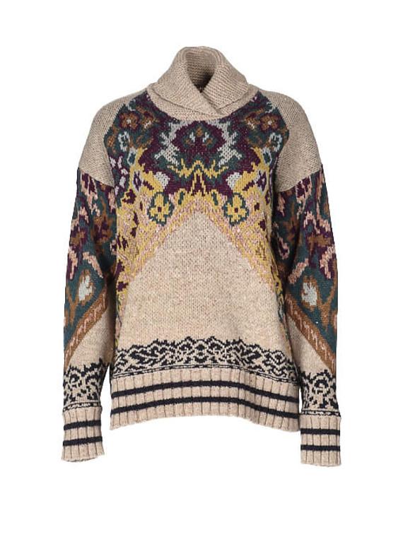 Women Etro High Neck Knit -  Beige Size M IT 44 US 8