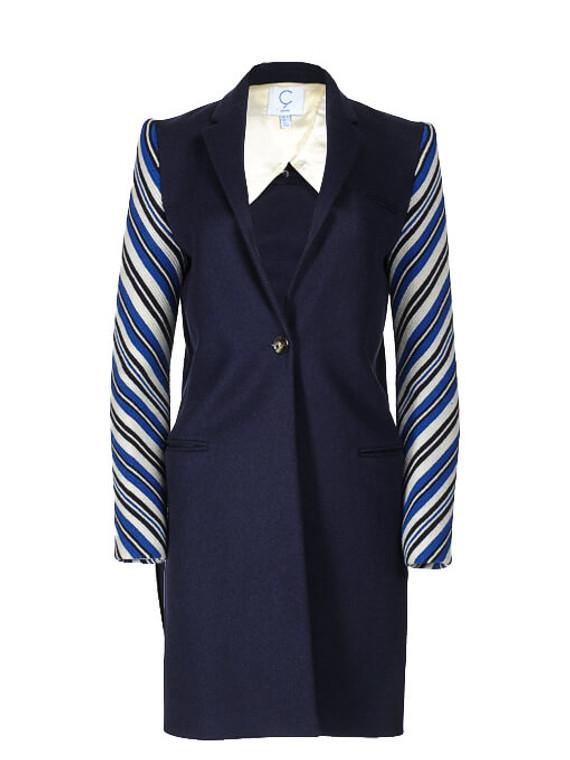 Women C Façonnable Stripe Sleeved Coat -  Blue Size S FR 36 US 4