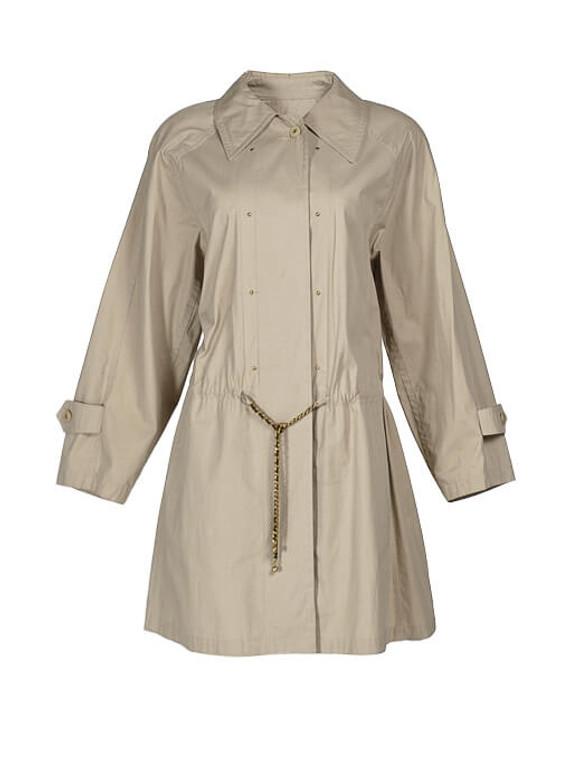 Women Chanel Short Trench Coat -  Beige Size M FR 40 US 8