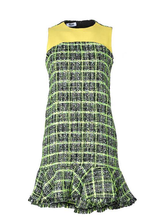 Women Moschino Tweed Mini Dress -  Yellow Size S IT 40 US 4