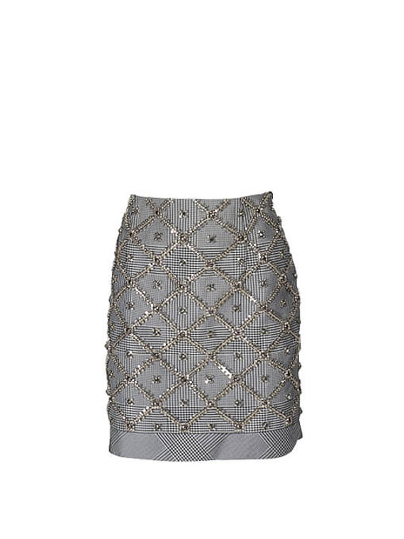 Women Antonio Berardi Embroidered Skirt -  Grey Size S IT 40 US 4