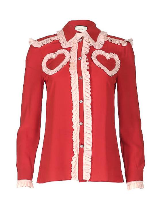 Women Gucci Ruffled Heart Blouse -  Red Size S IT 40 US 4