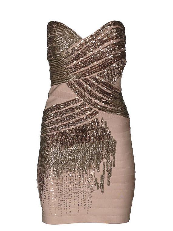 Women Herve Leger Fitted Sequin Dress -  Beige Size M FR 38 US 6
