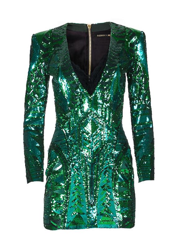 Women Balmain Sequin Plunge Dress -  Green Size S US 4