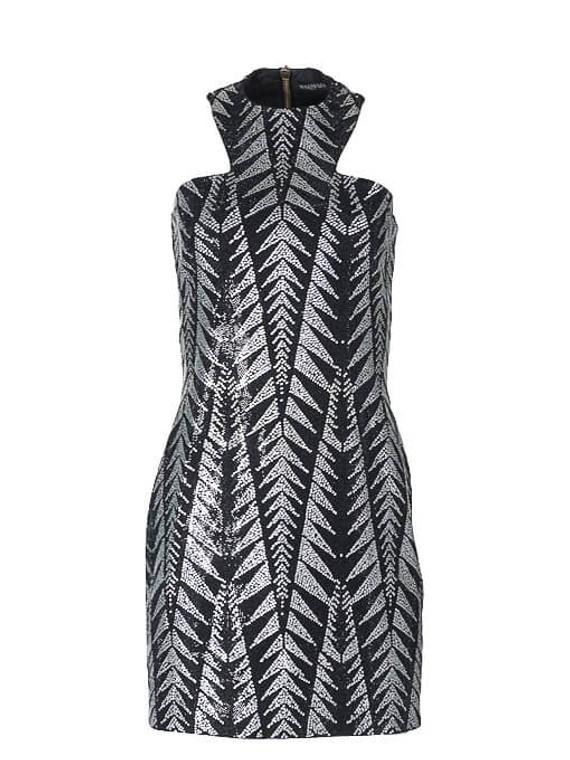 Women Balmain Embellished Chevron Dress -  Black Size M FR 40 US 8