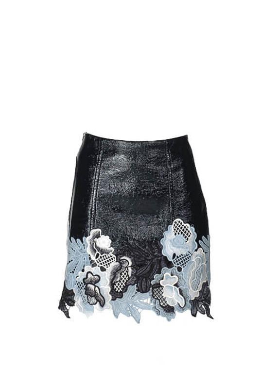 Women 3.1 Phillip Lim Vinyl Lace Skirt -  Black Size XS US 0