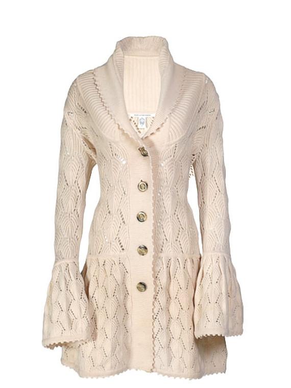 Women Diane Von Furstenberg Crochet Knit Cardigan -  Ecru Size S US 4
