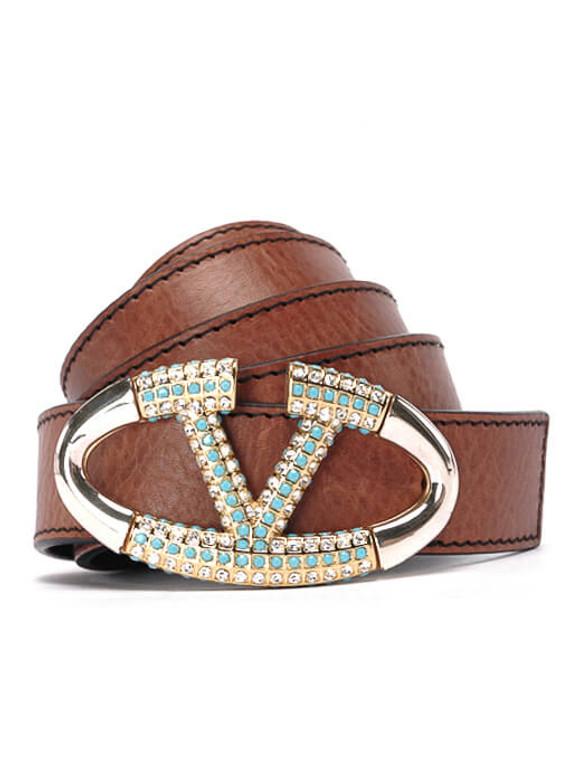 Women Valentino V Logo Belt -  Brown