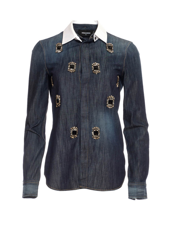 Women D Squared Denim Embellished Shirt -  Blue Size M IT 44 US 8